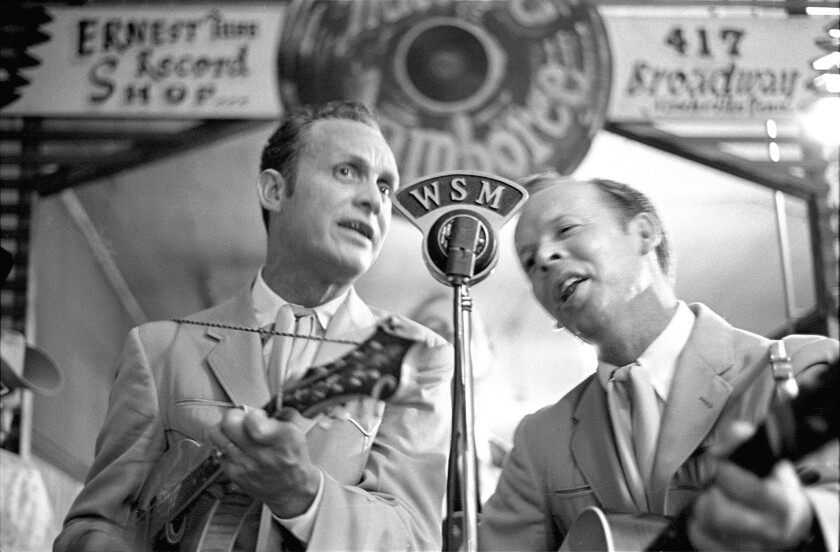Ira Louvin, left, and Charlie Louvin singing at the Grand Ole Opry in Nashville.