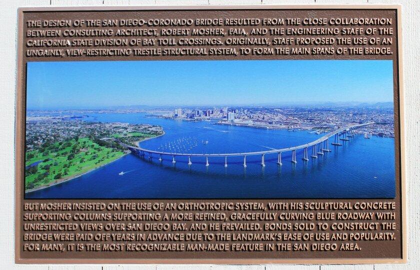 Construction on the Coronado-Bay Bridge, designed by architect Bob Mosher, began in February 1967; it opened Aug. 3, 1969.