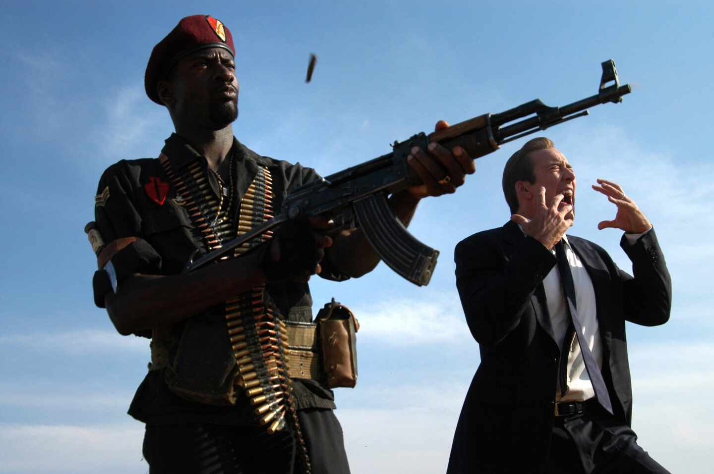 """Yuri Urlov (Nicolas Cage), right, in the movie """"Lord of War."""" The film was produced by Christopher Eberts in 2005."""