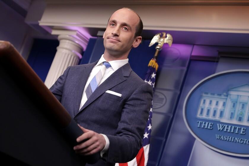 The third-grade teacher of White House advisor Stephen Miller is on home assignment.