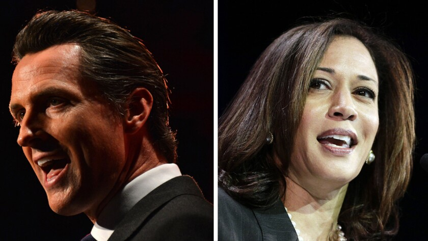 California Gov. Gavin Newsom and California Sen. Kamala Harris.