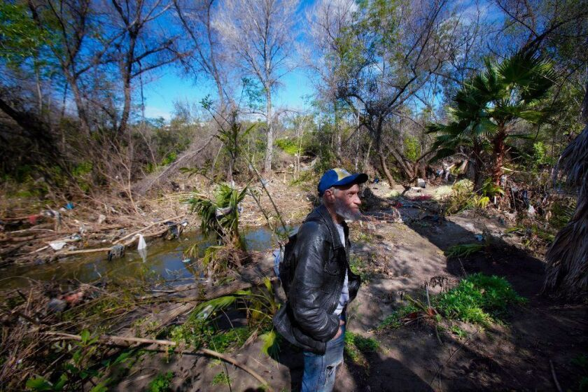 James Conley stands on the banks of Buena Vista Creek in 2019. The creek has been the focus of Vista enforcement efforts due to extensive homeless encampments in the area.