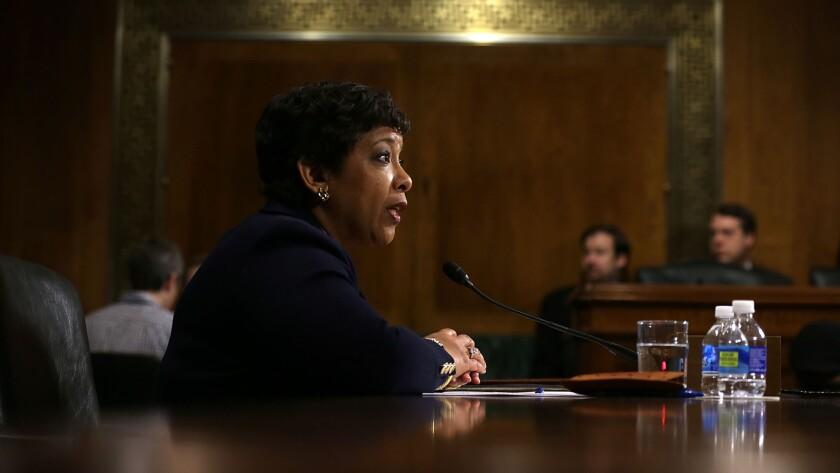Atty. Gen. Loretta Lynch testifies during a March 9 hearing before the Senate Judiciary Committee in Washington.