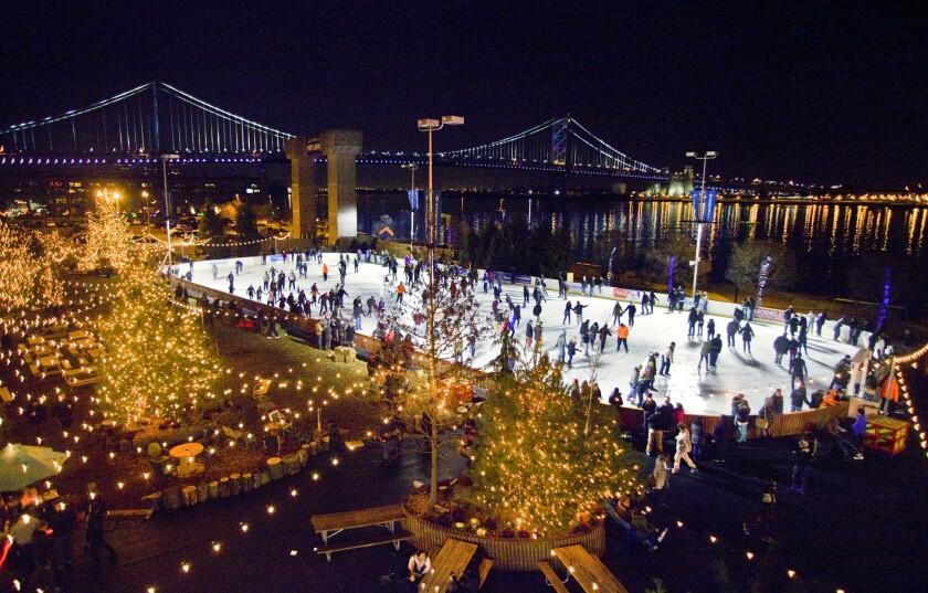 The open-air Blue Cross RiverRink on Penn's Landing at the Waterfront Winterfest in Philadelphia.