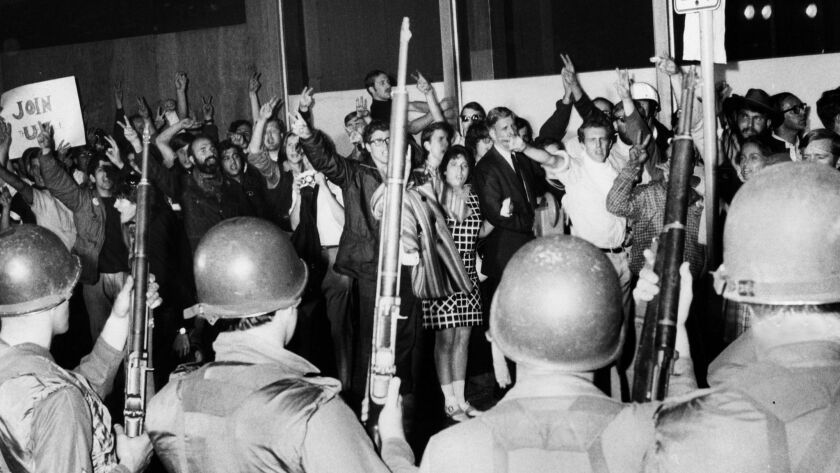 The National Guard confronting anti-war protesters in Chicago during the 1968 National Democratic Convention in Chicago.