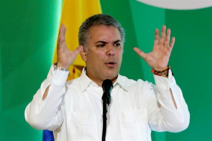 El presidente de Colombia, Iván Duque, encabezará la próxima semana en Nueva York una reunión internacional sobre el éxodo de venezolanos como consecuencia de la crisis en su país, según dijeron hoy fuentes diplomáticas. EFE/ARCHIVO