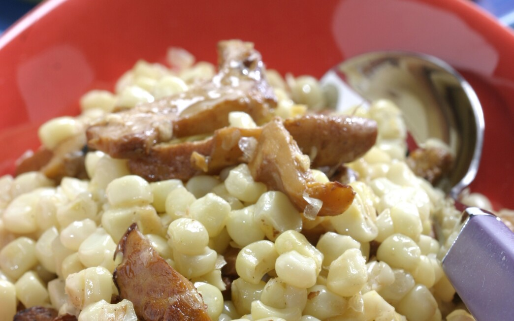 Braised Corn with Chanterelles.