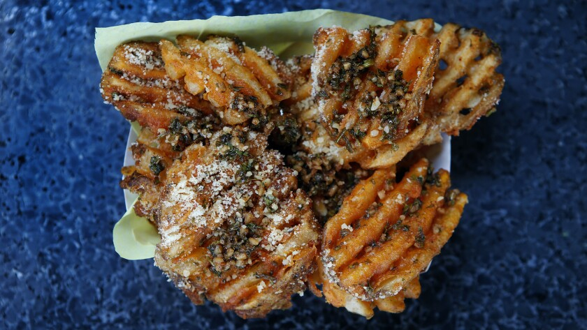 Chimichurri fries are on the menu at the Mapuche Native Argentinian Food truck.