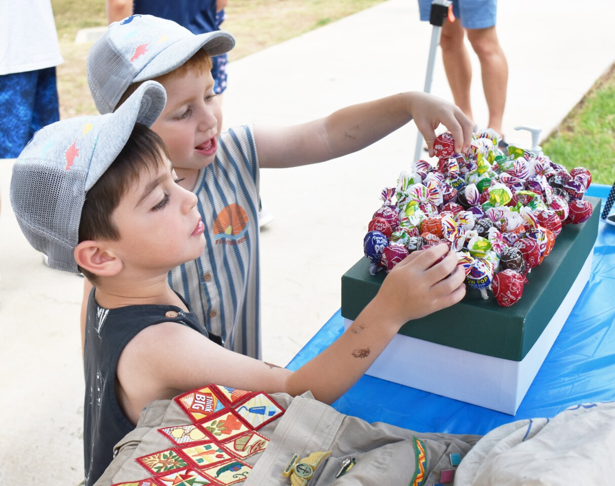 Zaki and Sajjad Mashouf selecting lollipops to see if they won a prize at a booth run by Senior Girl Scout Troop 2183.