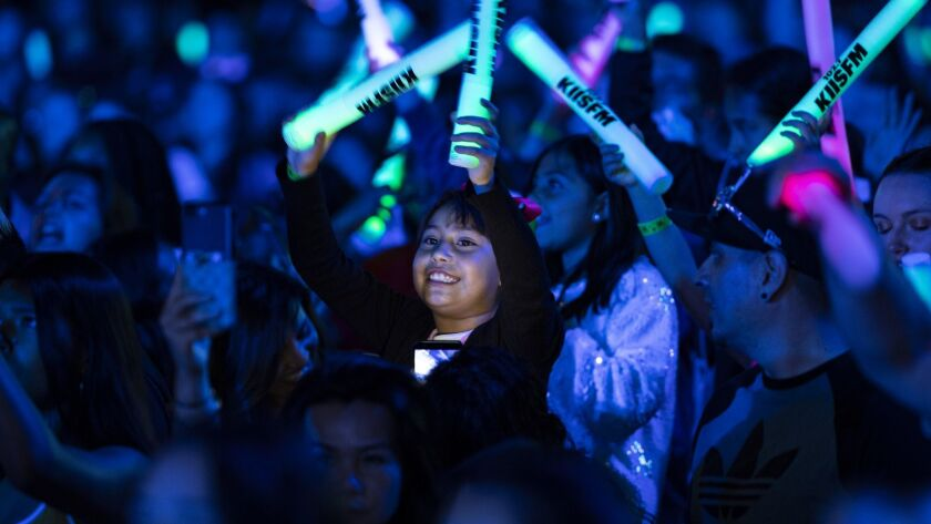 LOS ANGELES, CA - JUNE 2, 2018: Fans cheer as Shawn Mendes performs during the Wango Tango concert