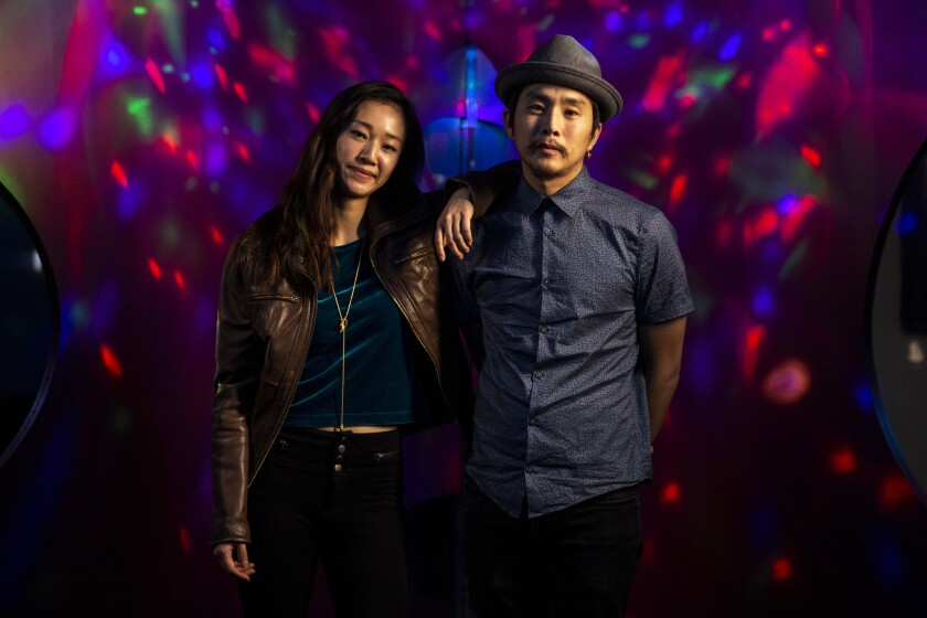 """""""Ms. Purple's"""" lead actress, Tiffany Chu, and director Justin Chon revisit Los Angeles' Soopsok Karaoke and Restaurant, where filming took place."""