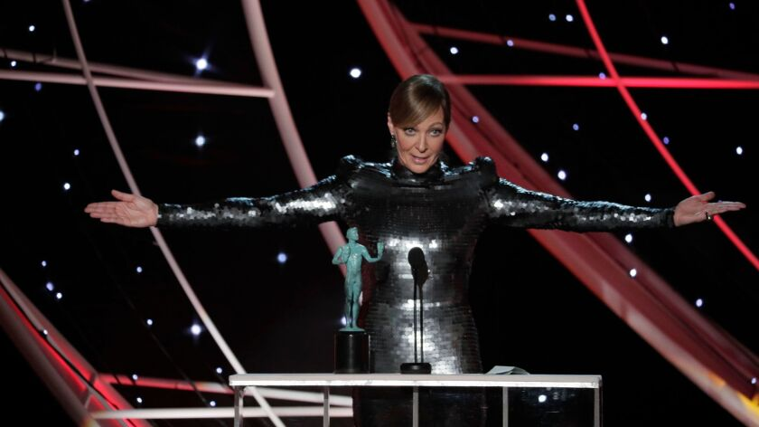 "LOS ANGELES, CA - January 21, 2018- Allison Janney, ""I, Tonya"" with SAG Award for Outstanding Perfor"