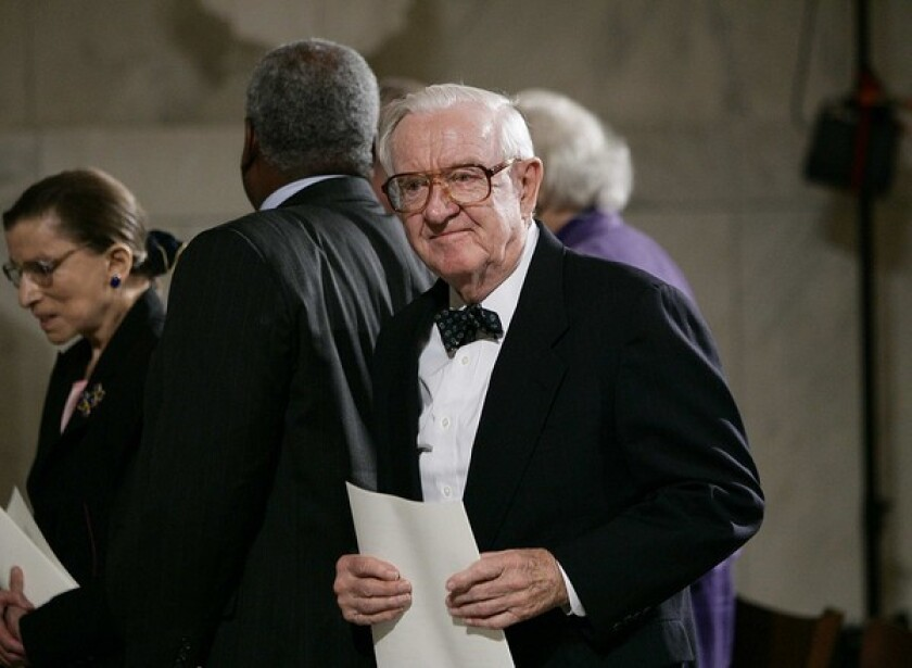 Supreme Court Justice John Paul Stevens became the senior liberal voice on the court as others left.