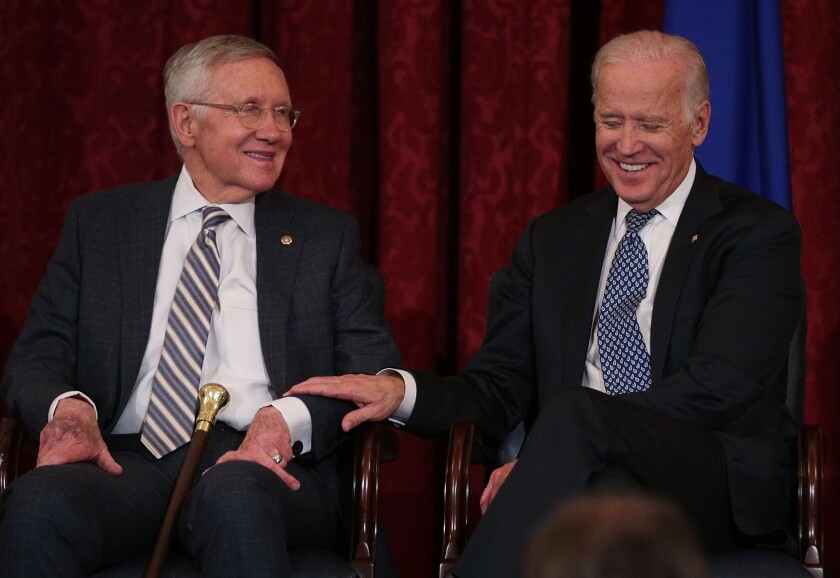 Sen. Harry Reid and then-Vice President Joe Biden in 2016.