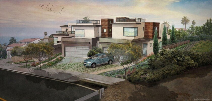 La Jolla Community Planning Association trustees reacted favorably to the design of this residential development proposed for 754-758 Bonair St., near La Jolla Bike Path. Courtesy Dan Linn