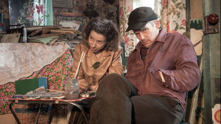 "Ethan Hawke as Everett Lewis and Sally Hawkins as Maud Lewis in the film ""Maudie."" Credit: Duncan de"
