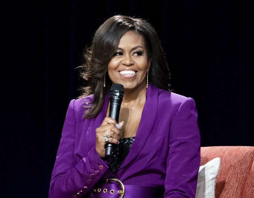FILE - In this May 11, 2019, file photo, former first lady Michelle Obama speaks during an appearance in Atlanta.