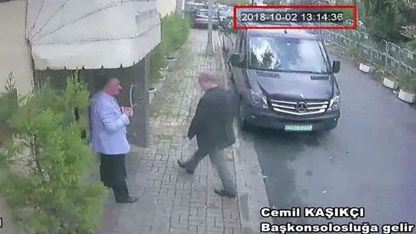 This image taken from video obtained by the Turkish newspaper Hurriyet claims to show Saudi journalist Jamal Khashoggi entering the Saudi Consulate in Istanbul, Turkey, on Oct. 2.