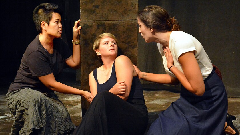 "Evie Abat, left, Eliza Blair and Sarah Tubert in Skylight Theatre's ""Never Is Now."""