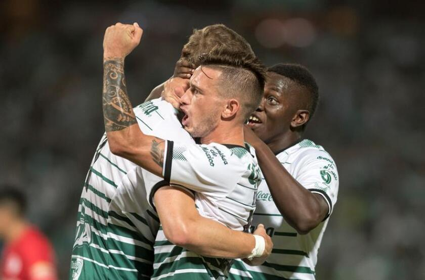 Santos Laguna celebrates after scoring a goal against Toluca May 17 2018, during the Torneo Clausura 2018 between Santos Laguna from Torreon and Toluca, at the Corona stadium in Torreon (Mexico). EPA-EFE FILE/Miguel Sierra