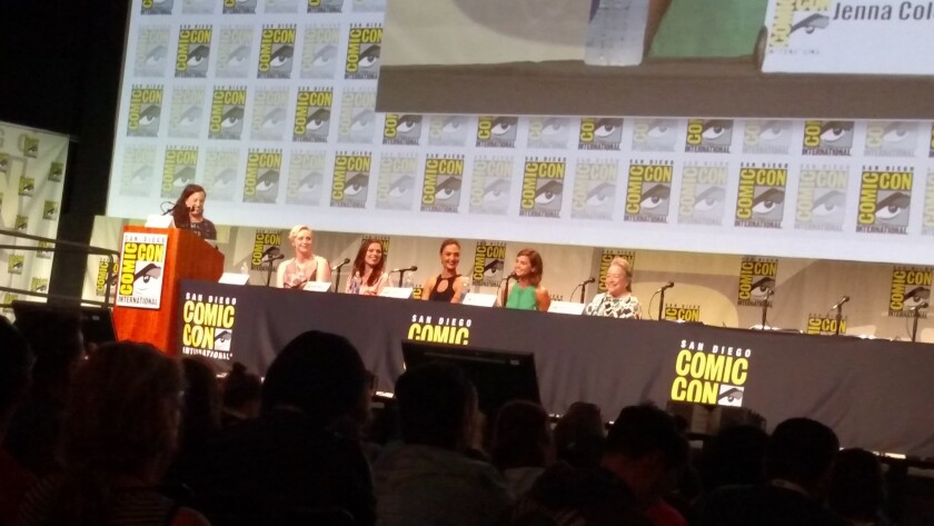 EW's Sara Vilkomerson, left, and actresses Gwendoline Christie, Hayley Atwell, Gal Godot, Jenna Coleman and Kathy Bates at Comic-Con.