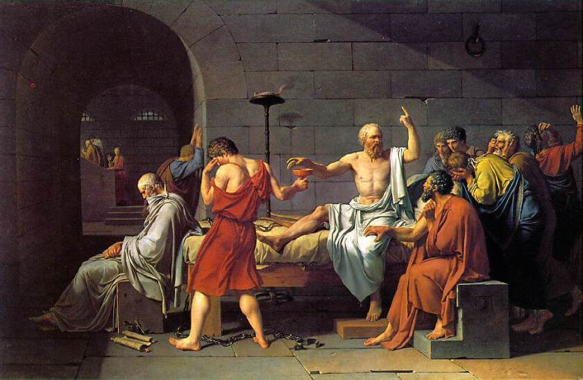 "A portion of Jacques-Louis David's 1787 painting, ""The Death of Socrates."""