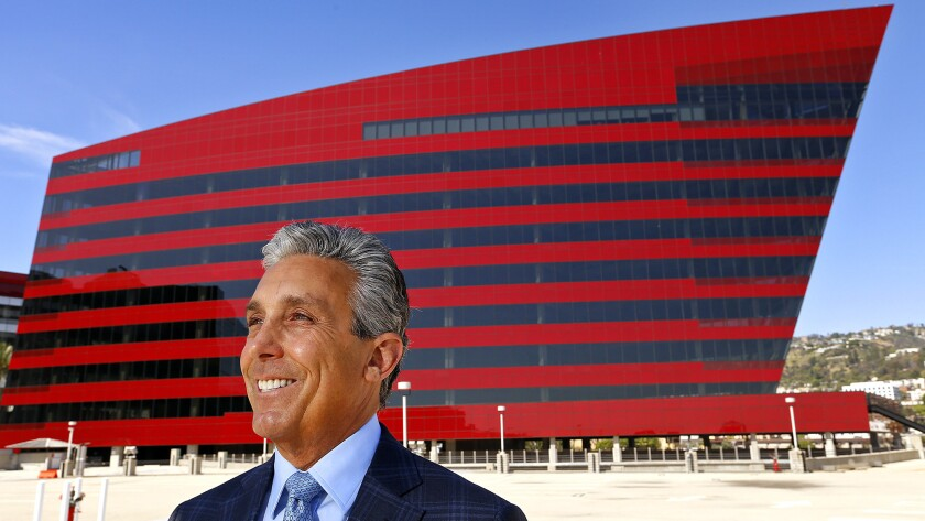 Landlord Charles S. Cohen at the Red Building, which was designed by noted architect Cesar Pelli and is the newest addition to the Pacific Design Center in West Hollywood.