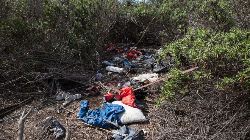 Trash is strewn around near an illegal homeless encampment in Talbert Preserve on Monday, October 31