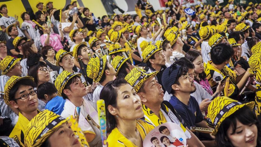 OSAKA, JAPAN - A lively outfield crowd, clad in tiger-striped fedoras, cheers on the Osaka-based Han