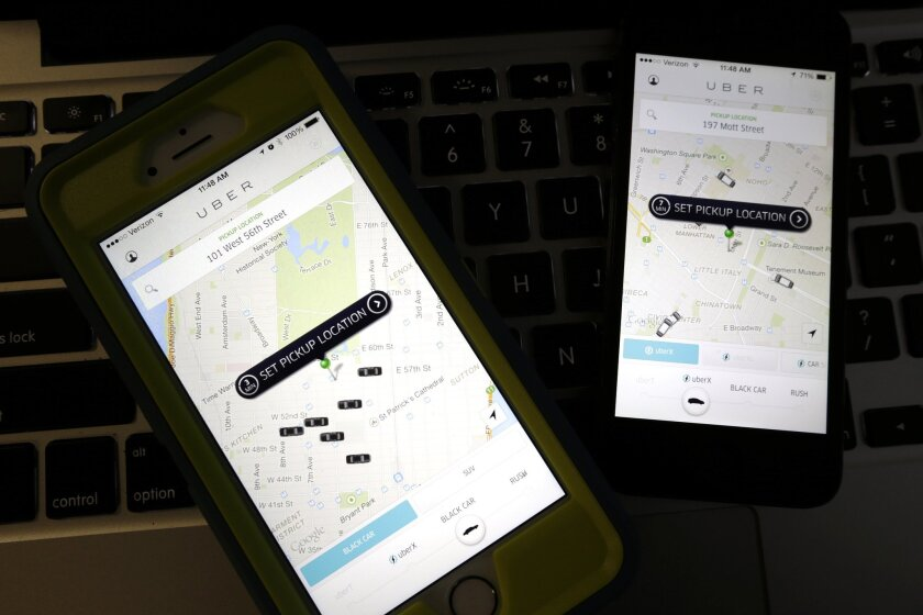 Uber enables users to hail a ride through a mobile app.