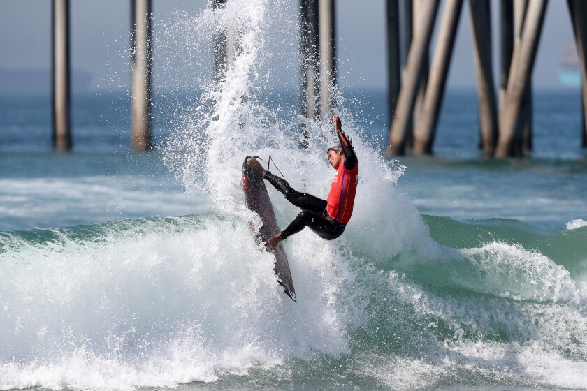 Huntington Beach's Kanoa Igarashi competes in Heat 24 of the Round of 96 on Tuesday morning.
