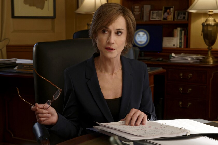 """This image provided by Showtime shows Holly Hunter as Sally Yates in a scene from """"The Comey Rule."""" Hunter plays former federal prosecutor Sally Yates in Showtime's two-part drama, debuting Sunday and Monday, Sept. 27 and 28. (Ben Mark Holzberg/CBS Television Studios/Showtime via AP)"""