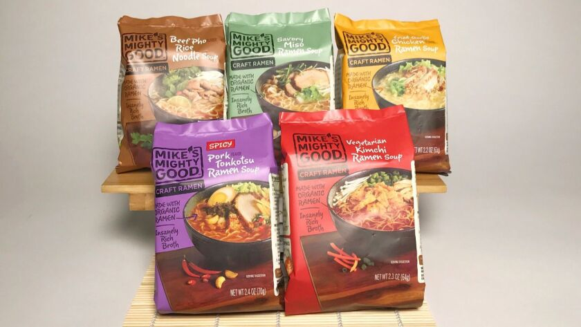 Organic steamed noodles in lower-sodium broth replace conventional noodles.