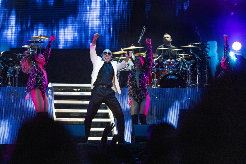 Pitbull performs to a sold-out crowd at the 2019 L.A. County Fair.