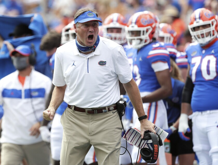 Florida coach Dan Mullen yells at an official during a game against South Carolina in Gainesville, Fla. on Oct. 3, 2020.
