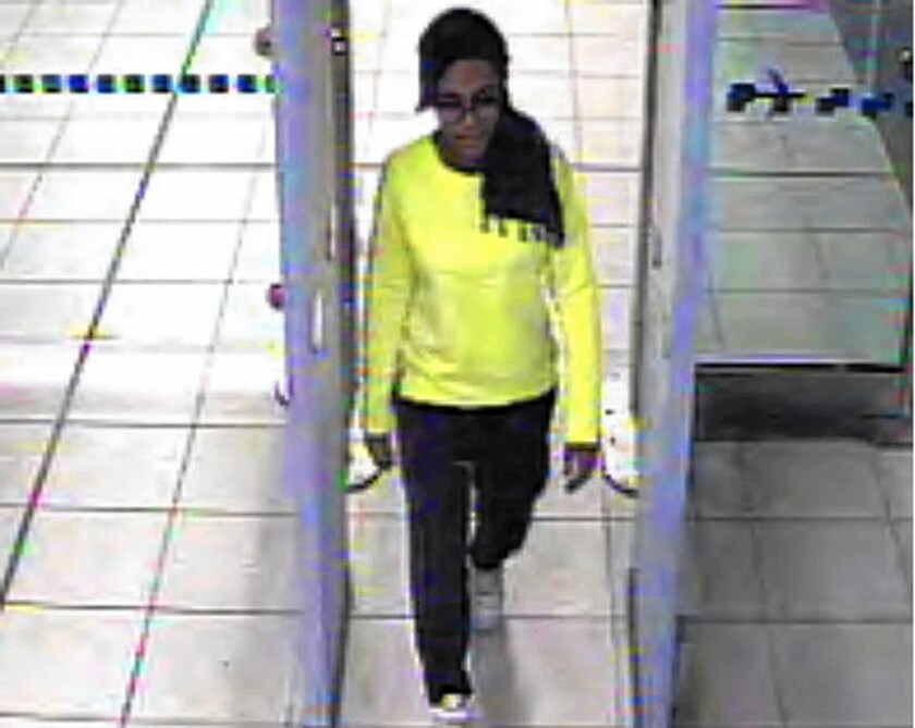 Closed-circuit TV shows Amira Abase, 15, going through security at Gatwick Airport outside London. She and two other teenage girls from Britain are believed to have crossed into Syria from Turkey to join Islamic State.