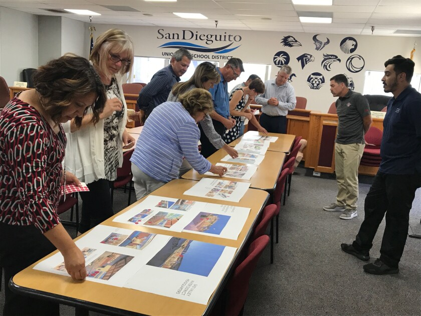 SDUHSD board members and staff look at different ideas for a new district office.