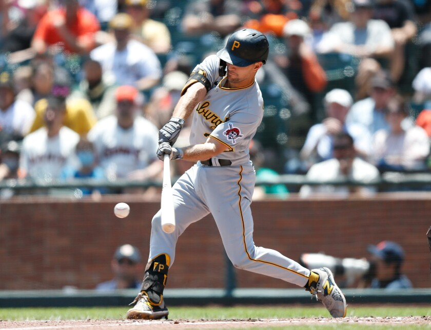 Adam Frazier bats in his last game for the Pirates on Sunday before being traded to the Padres.