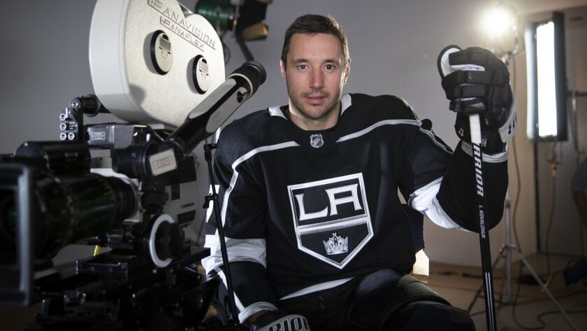 New Los Angeles Kings left winger Ilya Kovalchuk takes time to shoot a promotional video in Torrance.