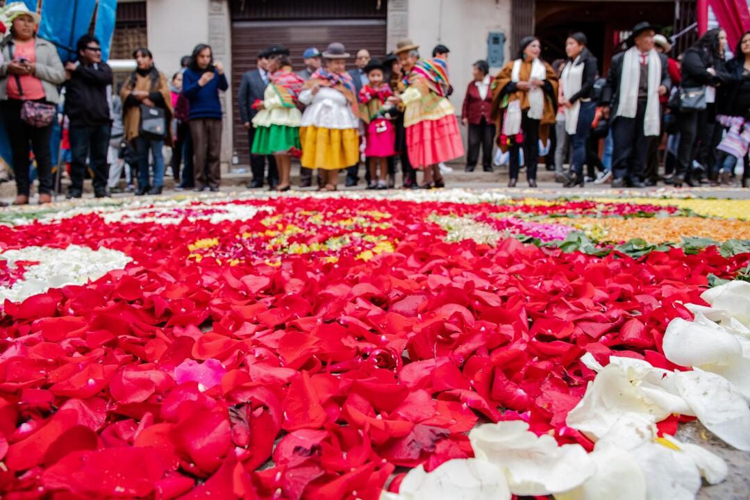 Las alfombras de flores no pueden faltar. Cada conjunto se levanta al alba para armar la suya y utilizan miles de flores. Horas más tarde la procesión pasa con la Virgen sobre ellas y eventualmente son retiradas con escobas y recogedores.