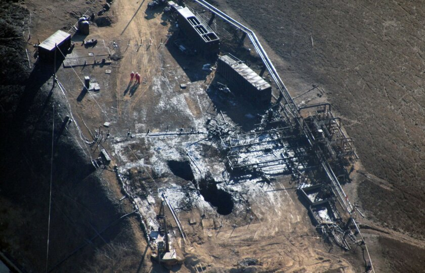 FILE - This Dec. 17, 2015 file photo provided by Earthworks shows an overhead aerial view of the relief well at the Aliso Canyon facility above the Porter Ranch area of Los Angeles. The utility says it has stopped the natural gas leak near Los Angeles after nearly 4 months. (Pete Dronkers/Earthwork