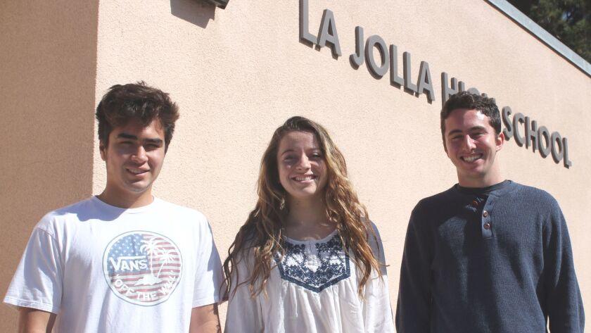 La Jolla High School Class of 2017 Salutatorian Matt Romero and Valedictorians Heloise Carion and Lo