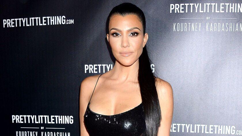 Kourtney Kardashian at the PrettyLittleThing launch party.
