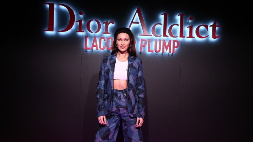 Bella Hadid, the face of Dior Addict Lacquer Plump, attends an L.A. party for the new product range from the French brand.