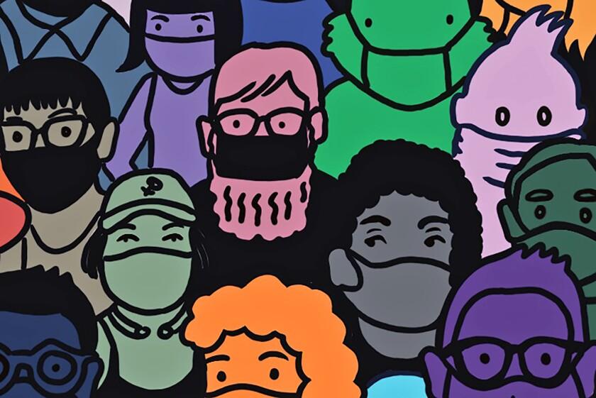 Illustration of multiple people wearing masks, standing together