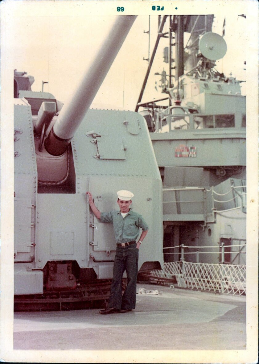 At right, Andrew Dolopo aboard the destroyer Stoddard in 1968, four years after joining the U.S. Navy at its base in Cavite in the Philippines. Courtesy Dolopo family