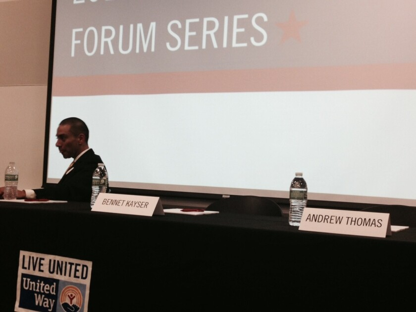 The United Way and other groups held a candidates debate for the Los Angeles school board District 5 seat Wednesday night but two of the three failed to show up, leaving Ref Rodriguez with the stage to himself.