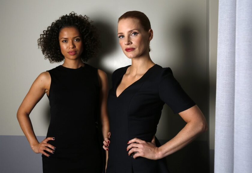 """Gugu Mbatha-Raw, left, and Jessica Chastain star in the movie """"Miss Sloane."""""""