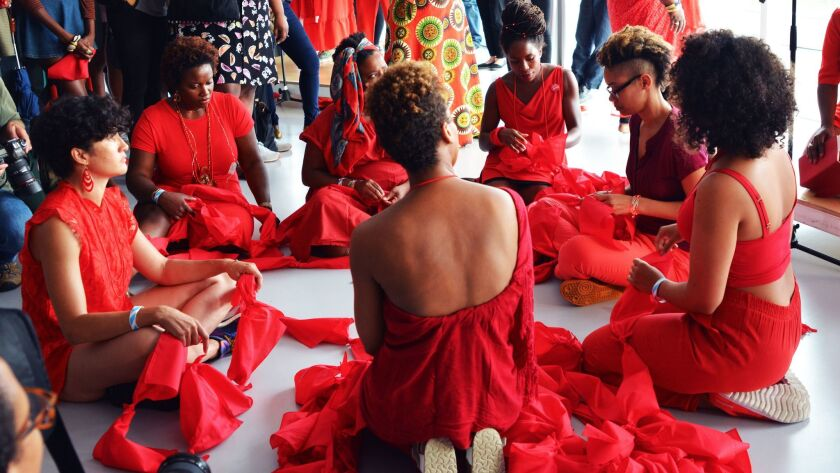 """Performers with Black Women Artists for Black Lives Matter perform """"A Litany"""" at the New Museum."""