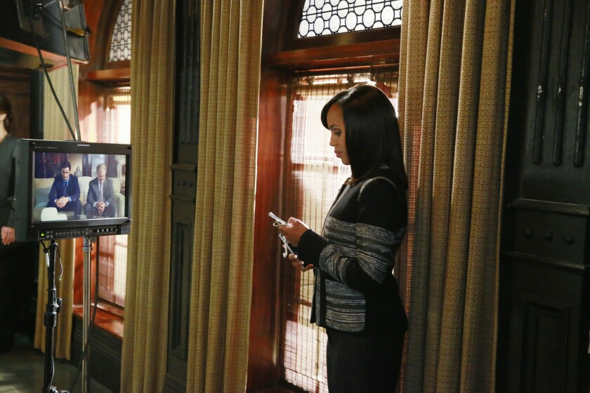"Kerry Washington in a scene from the ABC show ""Scandal,"" one of the most talked-about shows on social media. Fans -- known as ""Gladiators"" -- have sent out more than 3 million tweets this season."